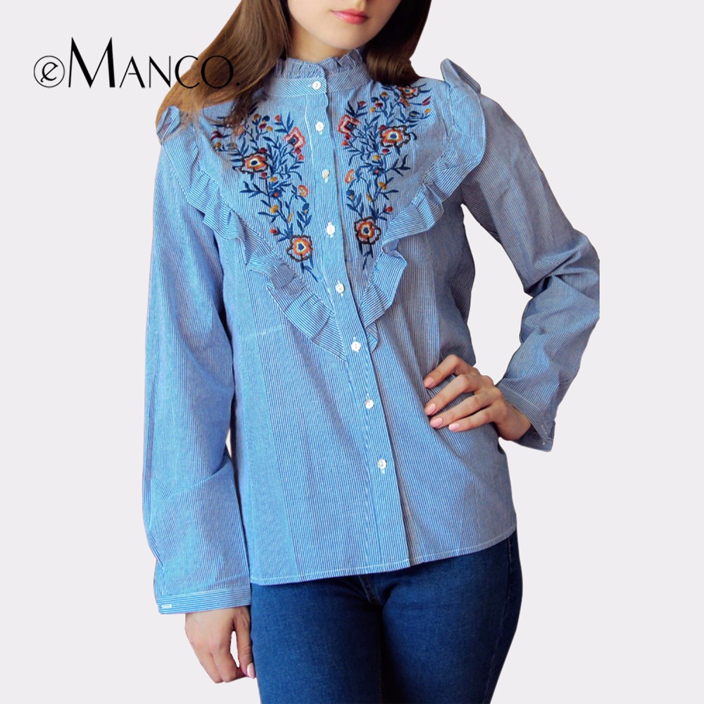 E Manco 2017 Spring Women S Long Sleeve Blouses Unique Floral Embroidery Tops Blusas Shirts Tops