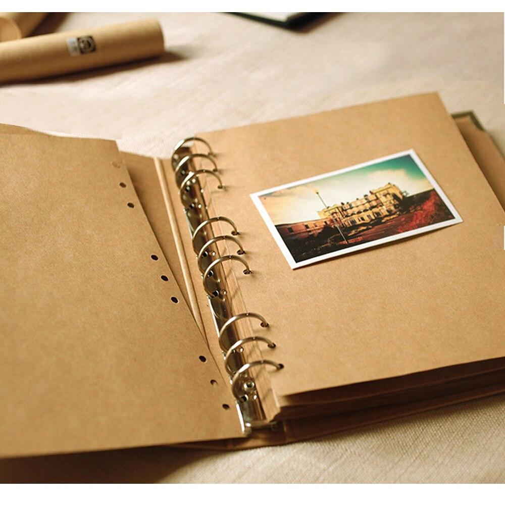 21.5*28*3.5 CM Vertical 9 trous fil reliure Type collant pages en vrac 39 feuilles 78 P rétro Kraft papier album de bricolage vacances Scrapbook