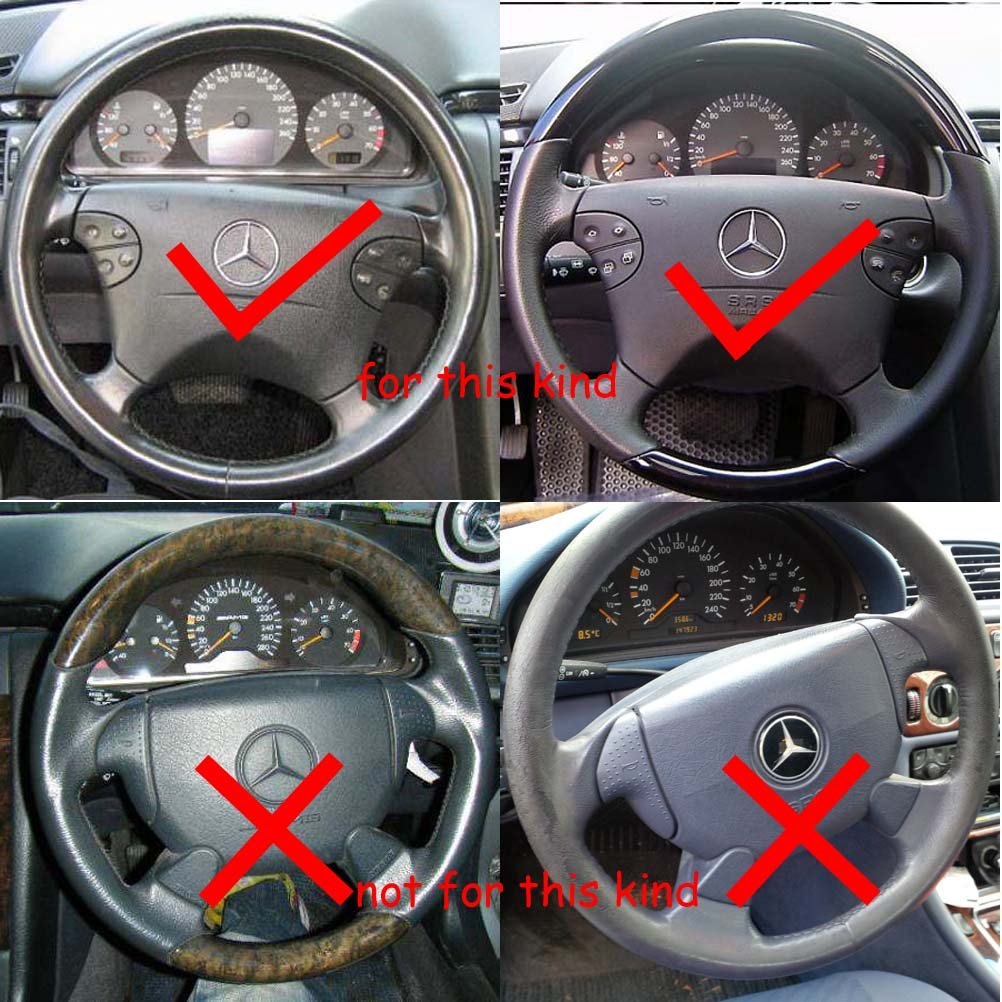US $41 69 |Gray Leather Wood Steering Wheel Cover for Mercedes Benz 00 02  W210 E E320 E430 97 02 W208 C208 A208 CLK CLK320 CLK430 CLK55 AMG-in