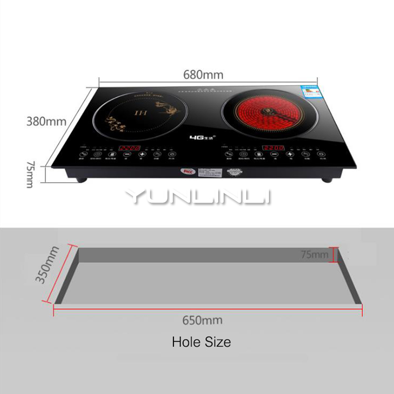 купить Household Induction Cooker Double-burner Electric Cooktop Induction Cooker+Radiant Cooker 2 in 1 Desk Type/Embedded Dual Use