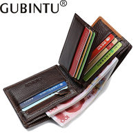GUBINTU 2017 New Genuine Leather Purse For Men Card Holder Personality Splicing Male Wallet Creative Simple