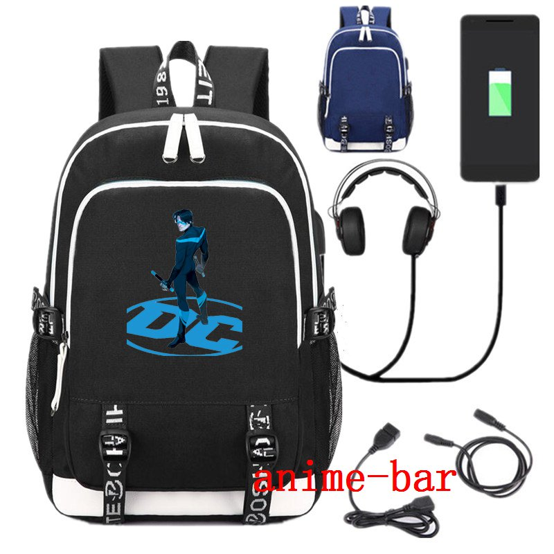 New Superhero Robin Nightwing School Backpack USB Charge Interface Anime Black Shoulder Laptop Travel BagNew Superhero Robin Nightwing School Backpack USB Charge Interface Anime Black Shoulder Laptop Travel Bag