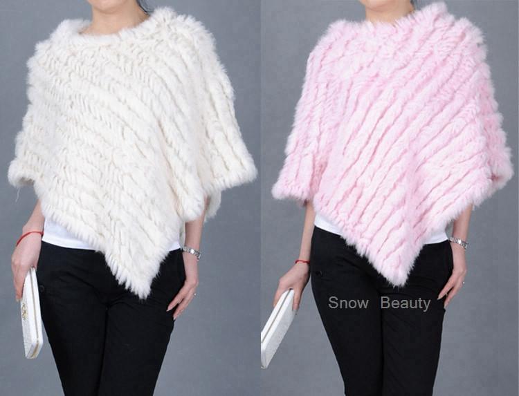 natural real knitted rabbit fur poncho shawl (32)