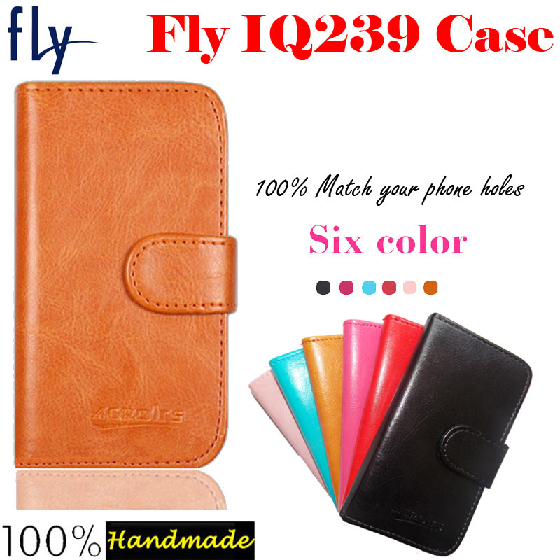 In Stock!Ultra-thin Phone Holster Flip Leather Case For Fly IQ239 ERA Nano 2 Magnetic Button Minimalist Style Protective Cover