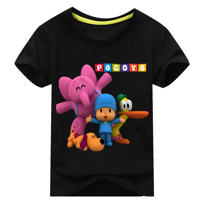 Crianças Traje T-shirt de Manga Curta Para Os Meninos Verão Camiseta Roupas Menino Meninas T Camisas Do Bebê Pocoyo Cães Imprimir Topos Traje tee