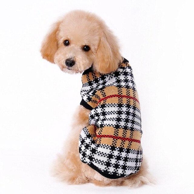 100% nuevo de alta calidad perro cuadrícula suéter estilo de ropa ...