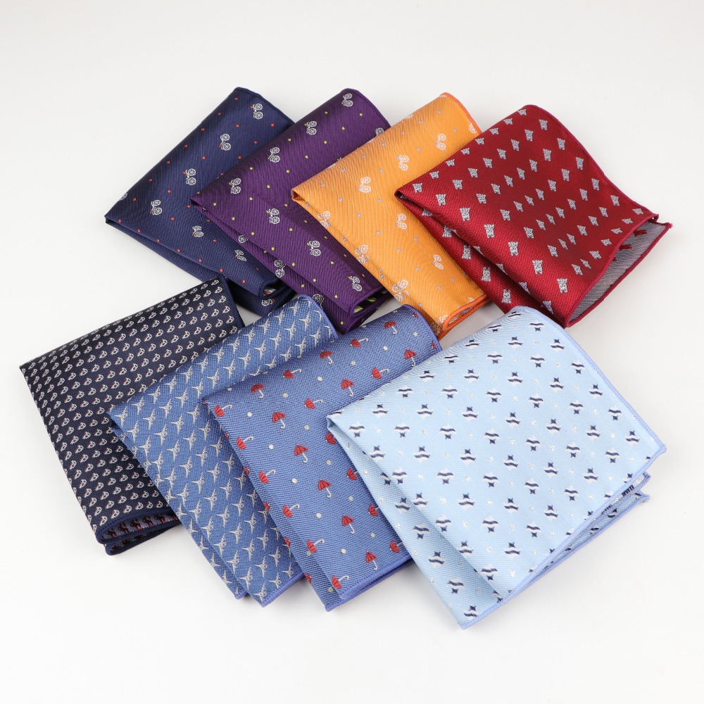 Polyester Hankerchief Scarves Vintage Fabric Hankies Umbrella Car Fish Aircraft Bicycle Pocket Square Handkerchiefs 23*23cm