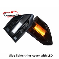 CITYCARAUTO EXTERIOR SIDE LAMPS TRIMS COVER WITH ELD Lamp Hoods FIT FOR T8 RANGER T8 T7 EVEREST ENDEAVOUR CAR SIDE LAMP HOODS