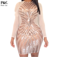 2016 Summer Women Plus Size Rose Gold Sequined Dress Sexy Long Sleeve Mesh Patchwork Midi Dress
