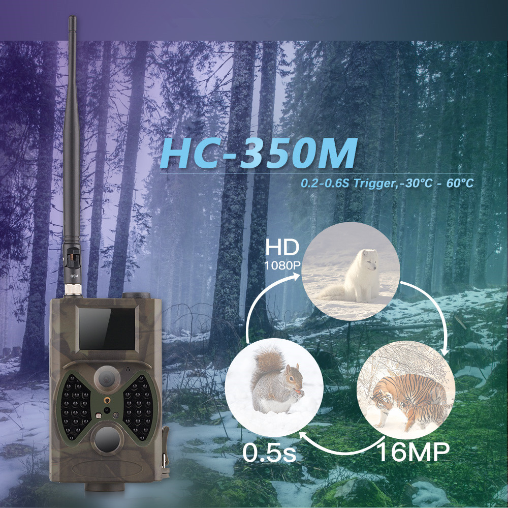 16MP Hunting Camera Black IR for Hunter Outdoor Wildlife Surveillance Game Trail Hunting Camera GPRS MMS GSM Waterproof HC350M hot hd12mp 36 black ir led mms outdoor waterproof trail huntingcamera for suntek hc 300m safety iron boxes free shipping