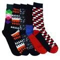 Envío gratis geometría calcetines estampados de algodón peinado colorido mens de la marca casual calcetines happy socks color del gradiente de 5 colores