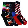 Free Shipping geometry Patterned Socks cotton Combed colorful Brand mens Casual tube socks happy socks Gradient Color 5 Colors