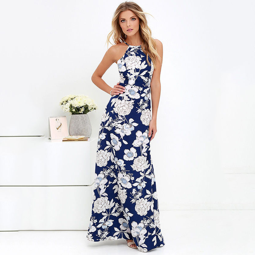 Boho Halter Vestido Maxi Dress Women Floral Print Beach Summer Elegant Sexy Long Dress Plus Size