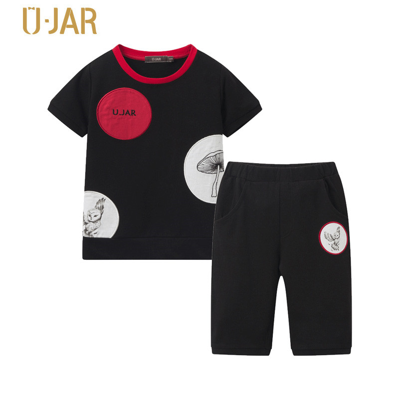 UJAR Brand Dot Patchwork Short Sleeve Shirt + Boys Shorts Set Childrens Summer Sets U52A705 юбка stets