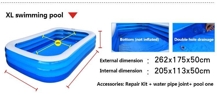 Grand adulte intérieur famille piscine épaississement rectangle piscine de pêche grand enfant piscine gonflable exportation bébé piscine - 5