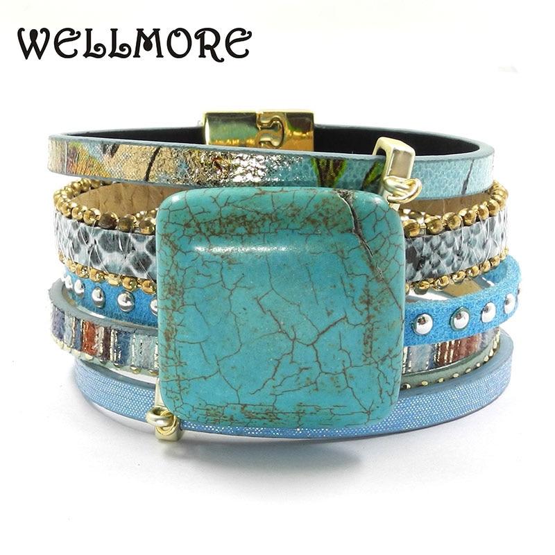 blue leather bracelet stone charm bracelets magnet buckle Bohemian bracelets boho bracelets & bangles B161001