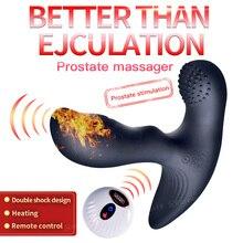 все цены на Double Vibration Silicone Prostate Massager Wireless Remote Anal Butt Plug Heating Vibrator Male Masturbator Adult Erotic Toys онлайн