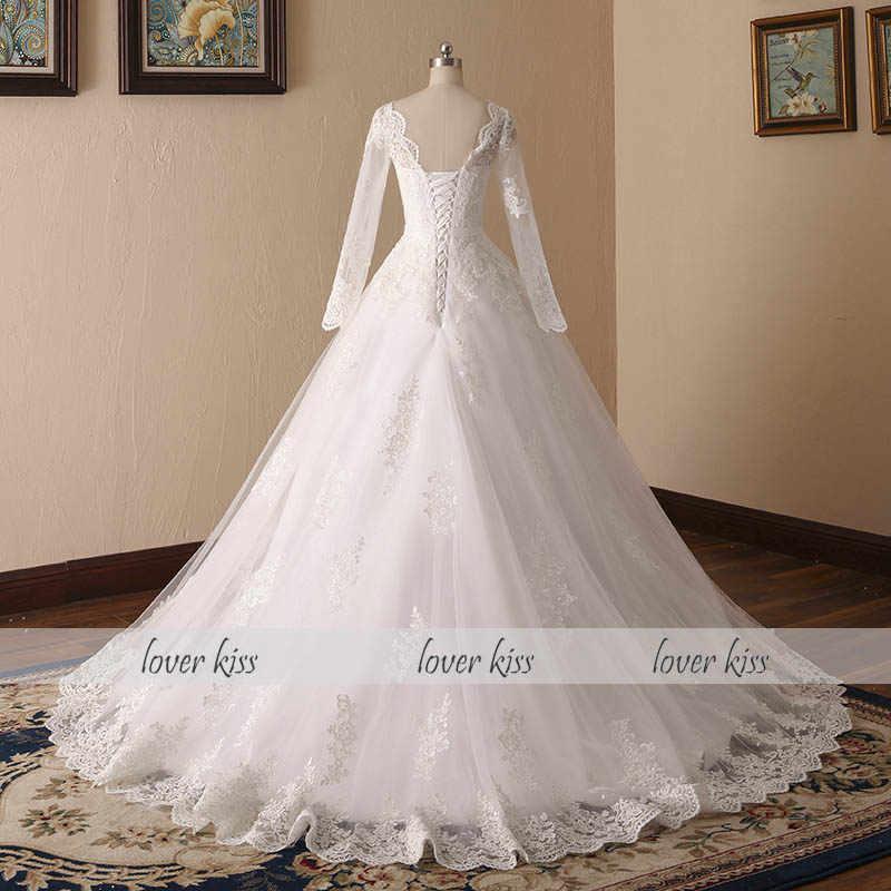 Amante beijo vestido de noiva do vintage simples país manga longa vestido de casamento corset volta laço vestido de baile vestidos de noiva para casamento