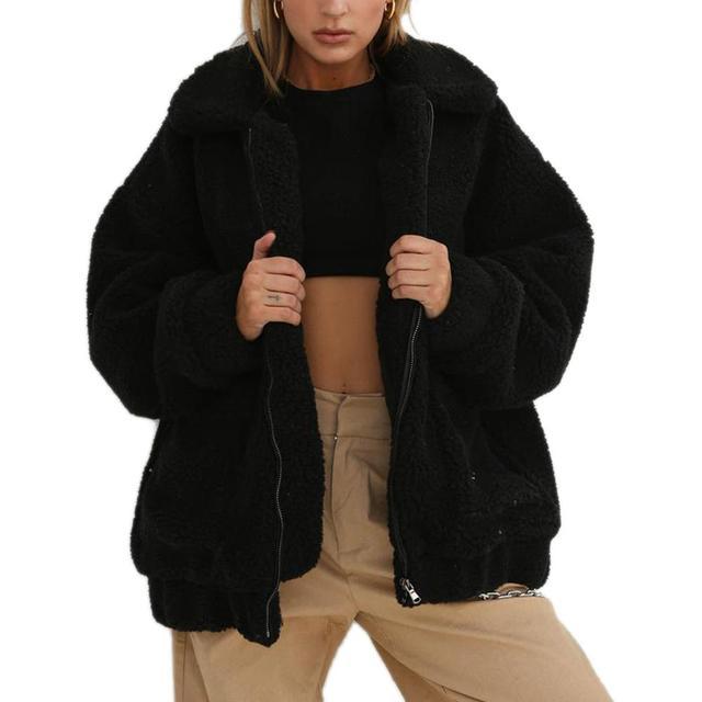 Fashion Lapel Sweatshirt Fleece Fur Coat 2018 Women Autumn Winter Warm Soft Jacket Thick Plush Zipper Overcoat Short Outerwear 2