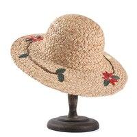 ROSELUOSI Women Summer Raffia Straw Hats Fashion Flower Embroidery Beach Sun Hats Chapeau Femme Ete
