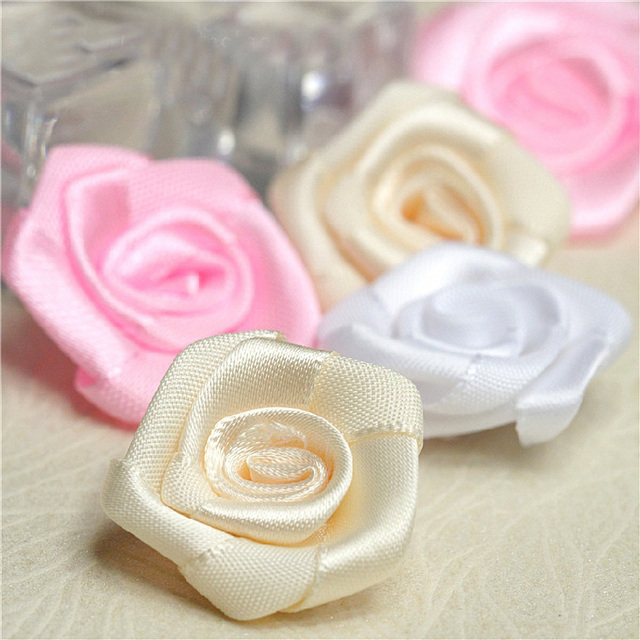 White Champagne Pink Rose Flower Satin Fabric Material Exquisite Small Clothing Accessories Corsage A1001