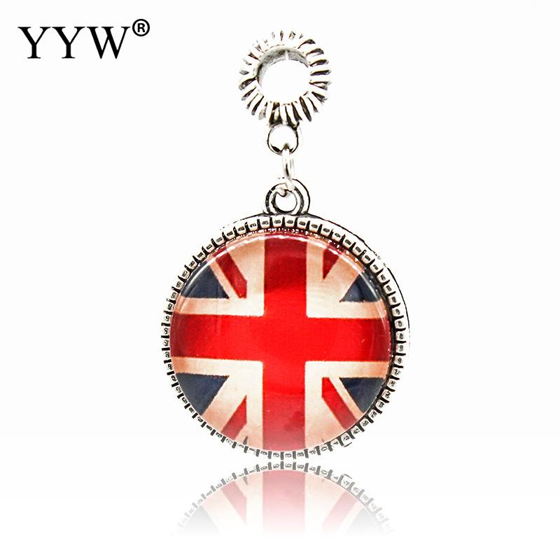 Union Jack United Kingdom LondonBlue & Red Enamel Thread Charm Beads Fit Women Bracelets Necklace Jewelry Gift