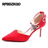 Bridal Ladies Pointed Toe Pumps Small Size Rhinestone 2017 Jewel Crystal Wedding Shoes 4 34 Red