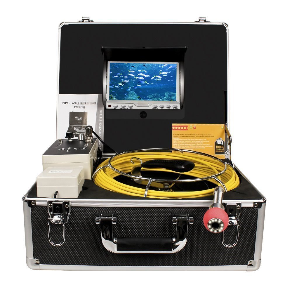 HBUDS 50M 360 degree camera Sewer Pipe Inspection Camera with DVR 1000 TVL with 7'' Digital LCD Screen Fiber Glass Cable 1 set 50m cable 360 degree rotative camera with 7inch tft lcd display and hd 1000 tvl line underwater fishing camera system