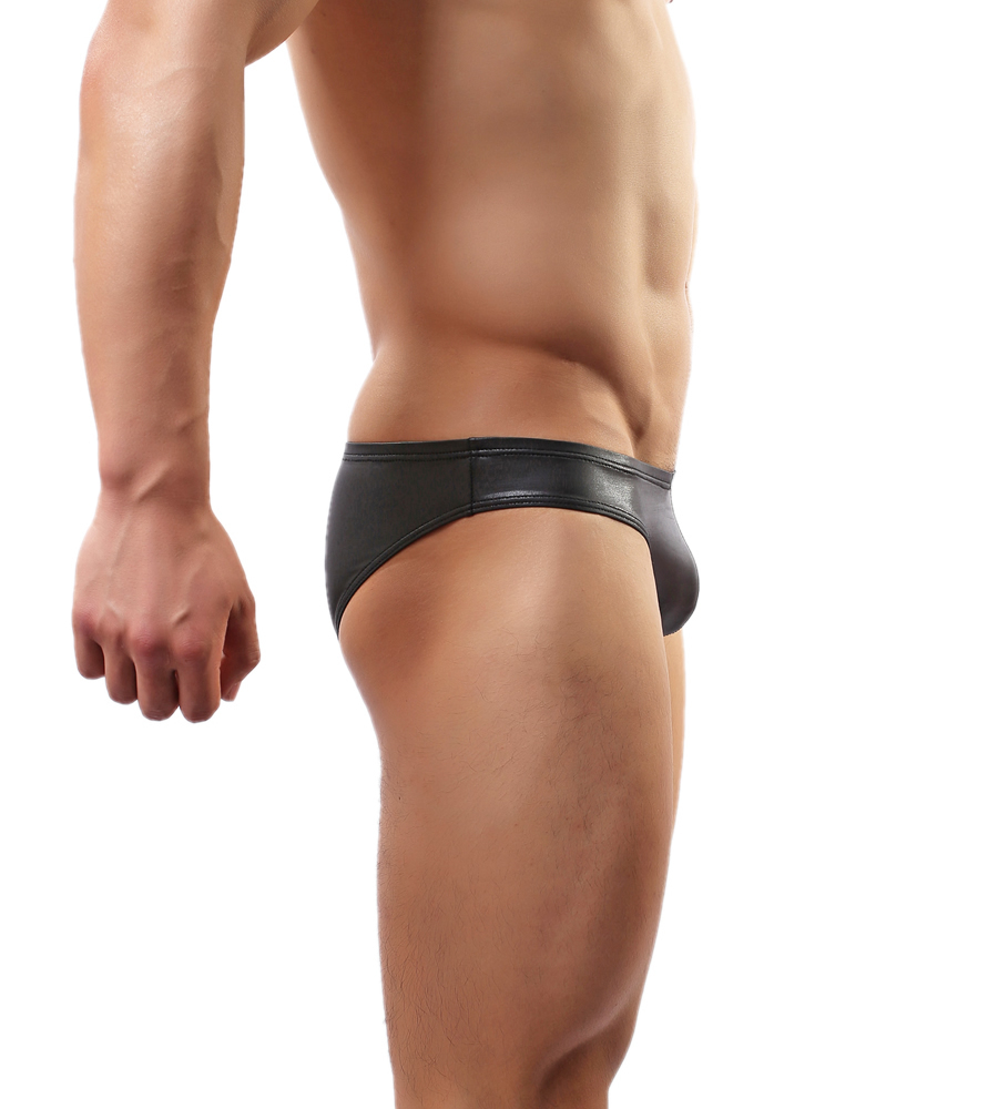 92bdf2b55b3e Fashion Sexy Elastic Tight Men s Underwear Faux Leather Briefs Swimming  Trunks C 34-in Briefs from Underwear   Sleepwears on Aliexpress.com