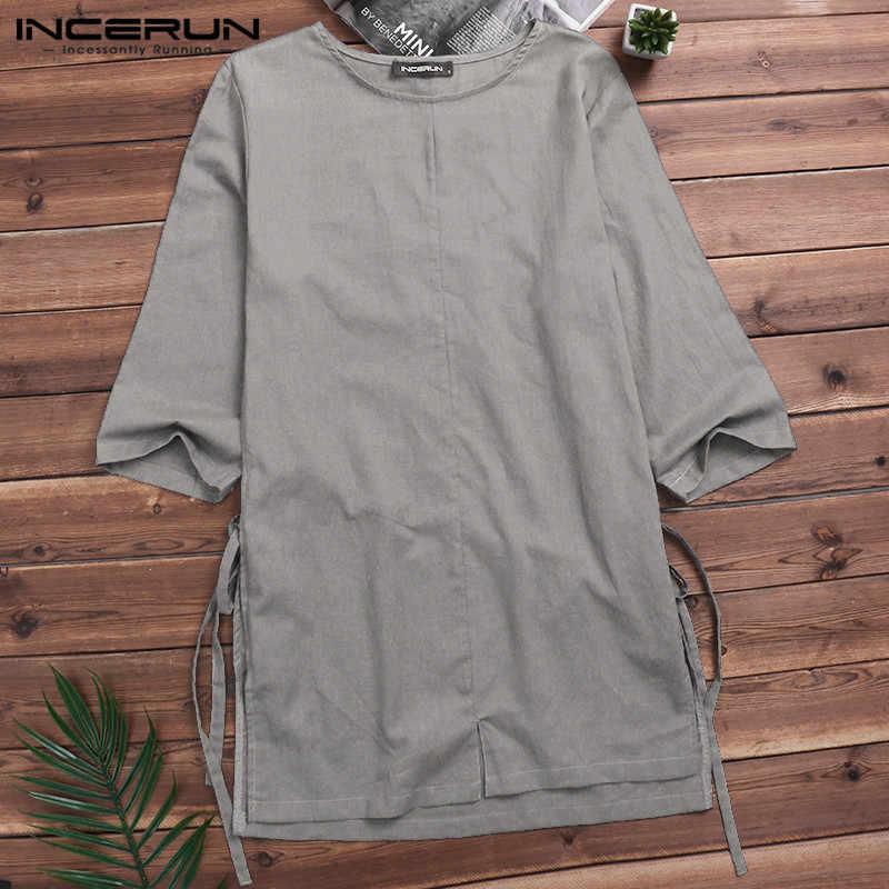 70adf796c39 Ретро Винтажные рубашки мужские повседневные хлопковые льняные 3 4 рукава  рубашки китайский стиль без воротника