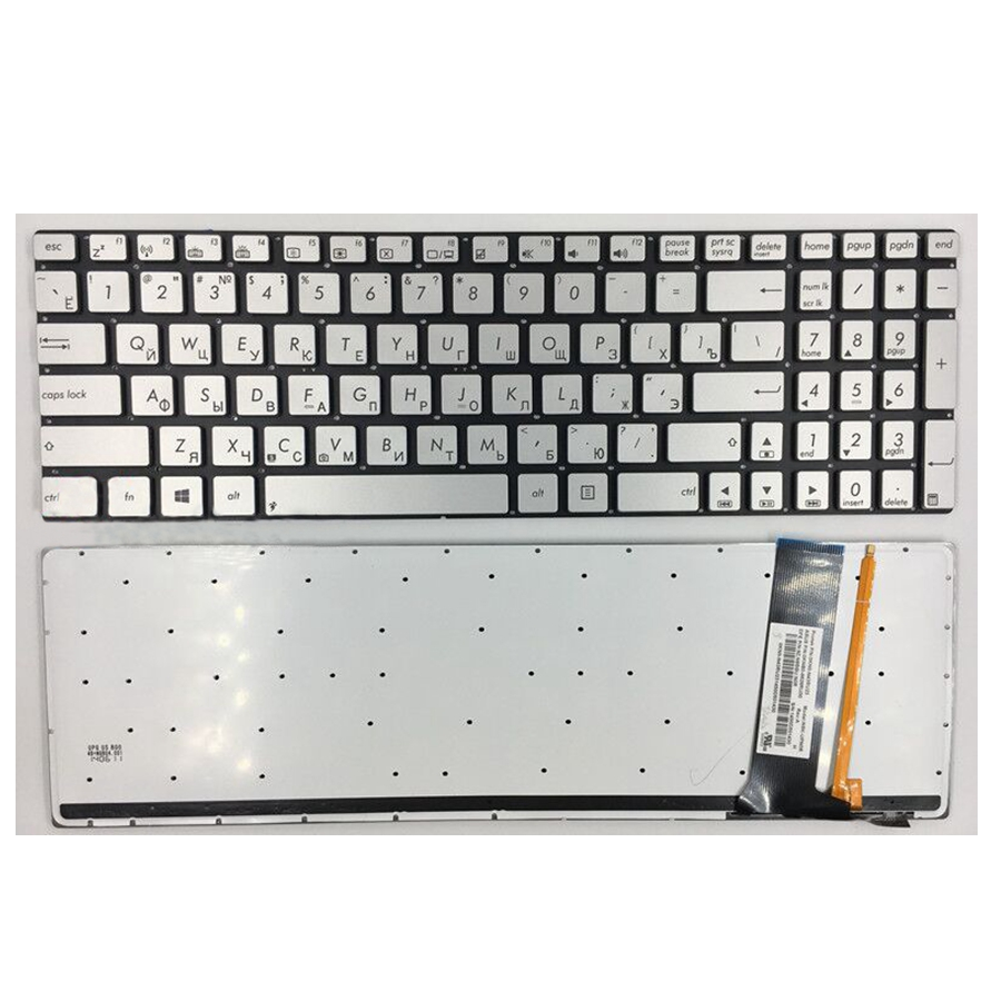 Laptop keyboard for ASUS N56 N56V U500VZ N76 R500V R505 N550 N750 Q550 RU Russian layout silver with backlit New Original silver цена