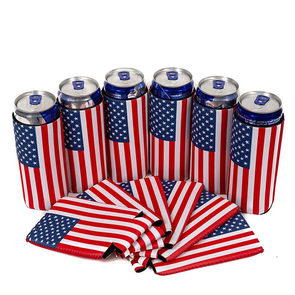 6pcs Slim Can Cooler 12oz American Flag Slim Cans Cover Sleeves Patriotic Stars Stripes American Independence Day Flag Style