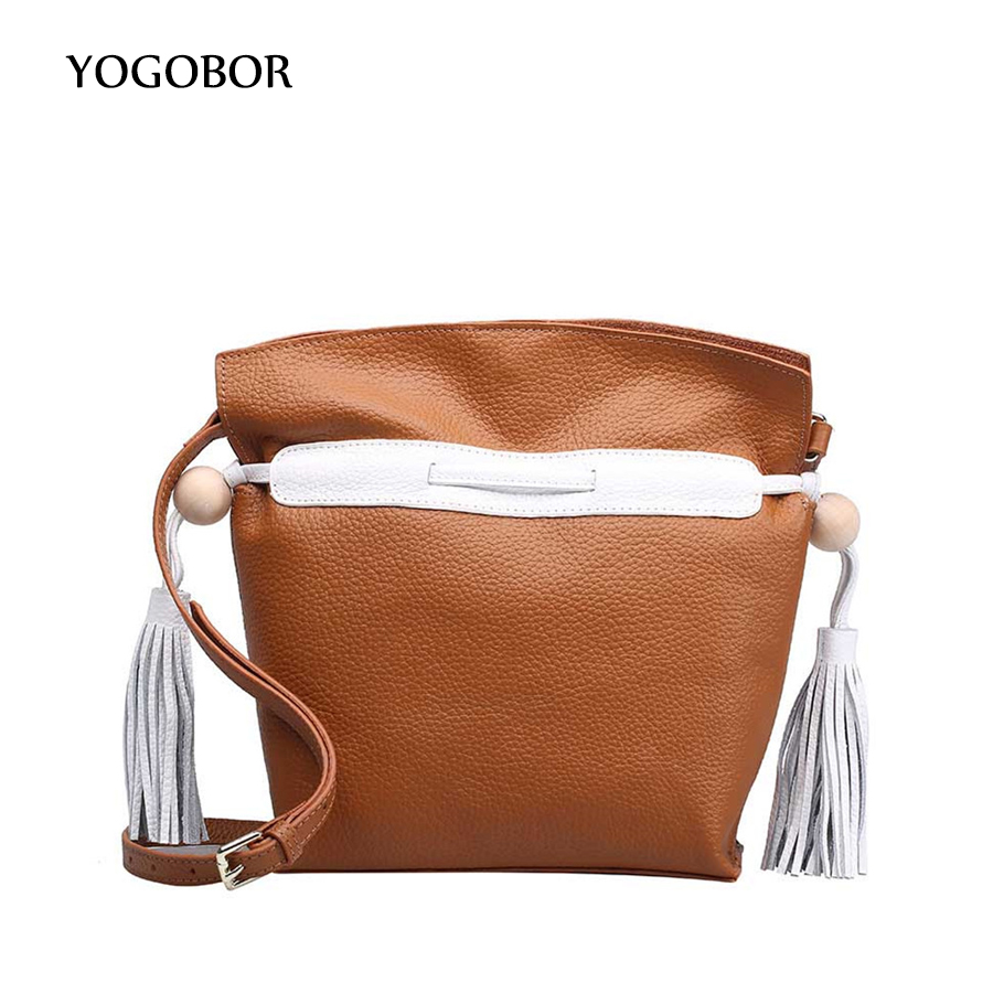 ФОТО Simple Genuine Leather Women Bucket Shoulder Bag Female Fringed Crossbody bag Drawstring Tassel Messenger Bag With Small Pouch