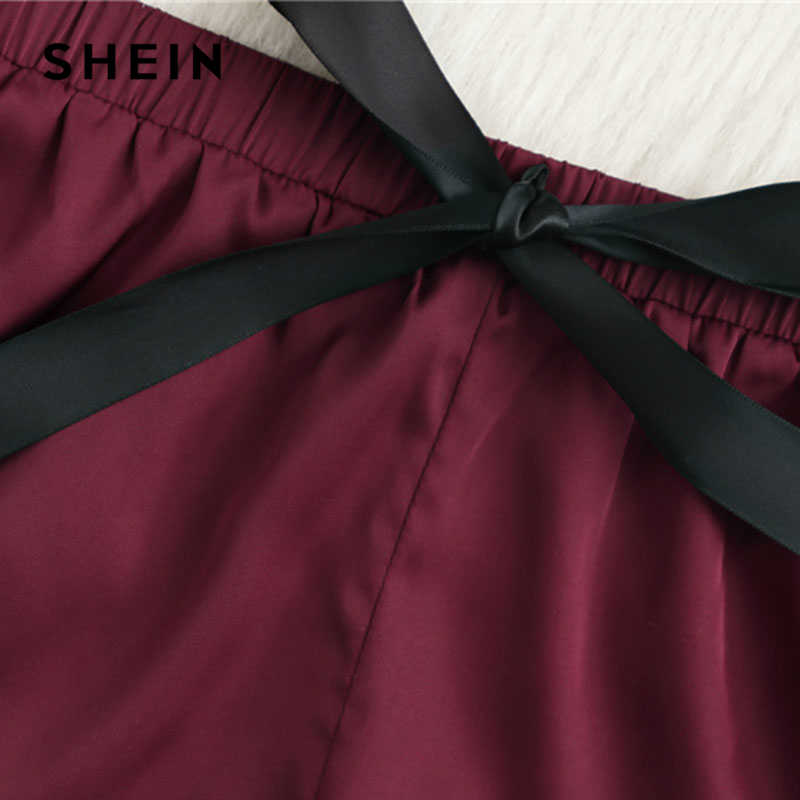 ... SHEIN Contrast Lace Hem Satin Cami Top And Shorts Pajamas Set 2018  Summer New Women Spaghetti
