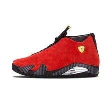 6e2a1e531d08d Jordan Retro 14 hombres zapatos de baloncesto de ante rojo dedo negro de  gamuza azul trueno