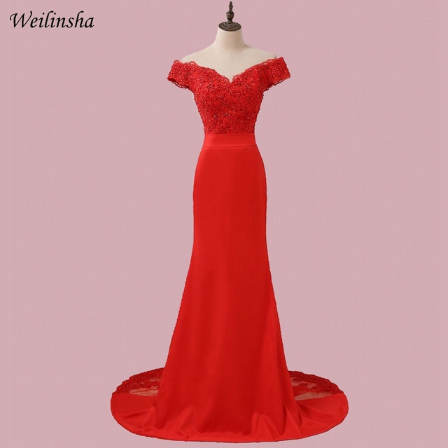 aa013d09a1 US $38.06 45% OFF|Weilinsha Red Mermaid Evening Dresses Long Off the  Shoulder Robes De Soiree Cheap Formal Evening Gowns-in Evening Dresses from  ...
