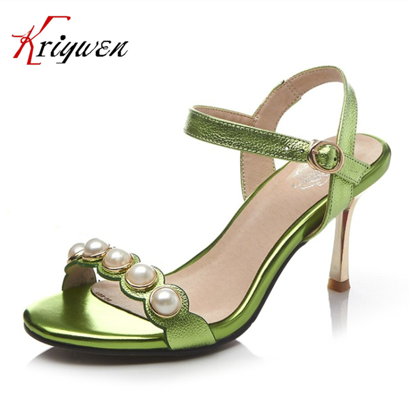 Plus size 33-43 Summer elegant lady shoes sexy high heels green women sandals beading buckle shoes party bride wedding sandals 2016 summer high heels16cm sexy waterproof 4cm party women s shoes plus size factory outlet real picture