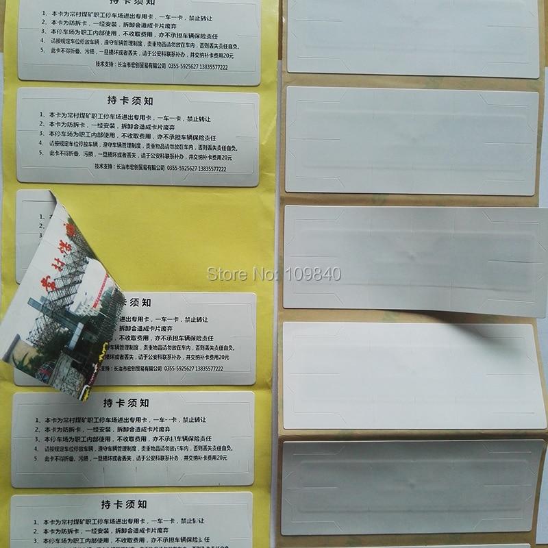 200pcs/roll PET UHF RFID windshield tag 9654 ISO 18000-6C long range reading cards for parking management 1000pcs uhf passive rfid windshield tag with alien h3 chip for parking management