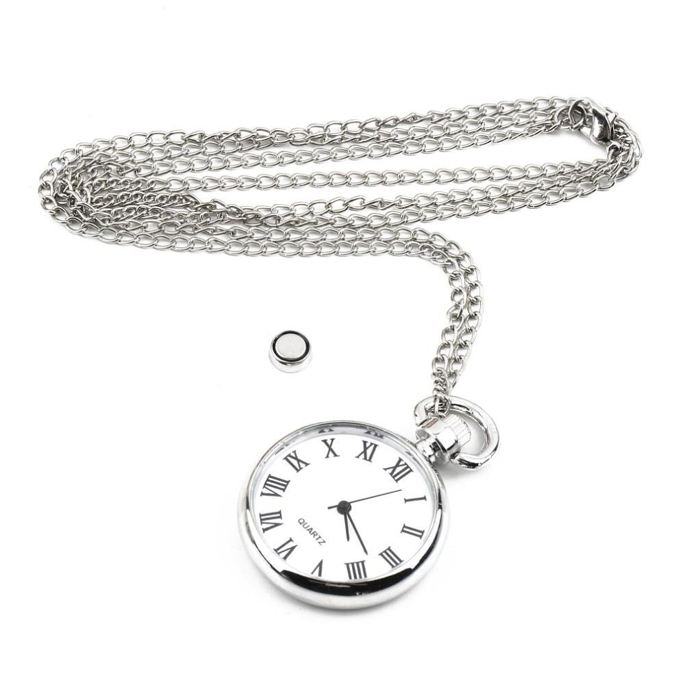 1pcs Quartz Round Pocket Watch Dial Vintage Necklace Silver Chain Pendant Antique Style 2017 Personality Pretty Gift