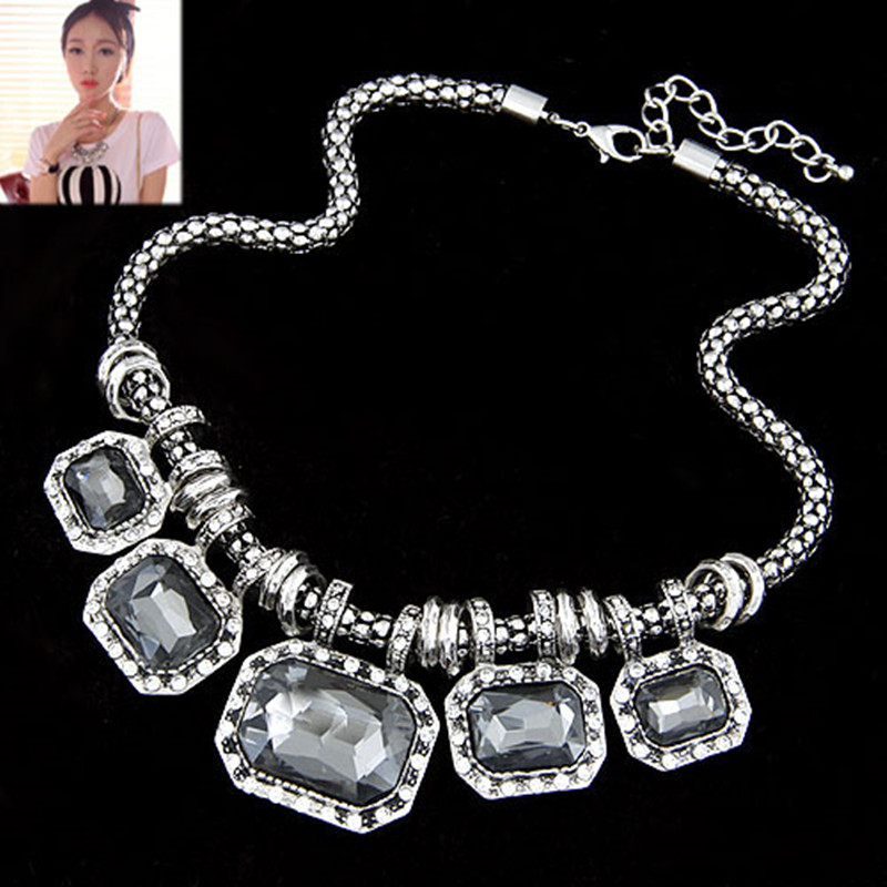Fashion Glass Necklaces & pendants Rhinestone Choker Necklace Women Colares Link Chain Necklace womens jewellery Accessories