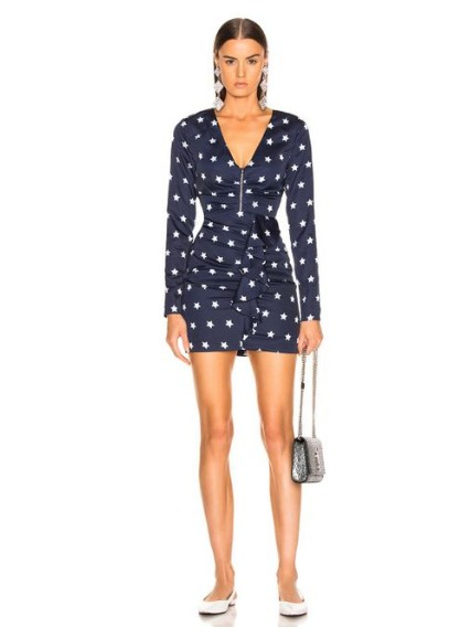 2018 Новое поступление Для женщин синий с принтом со звездой платье с длинными рукавами