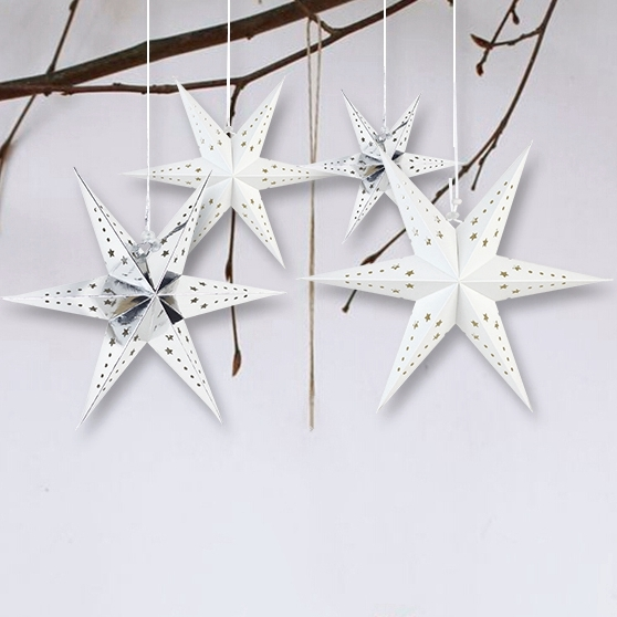 1pc 30cm Paper Star Lantern with 6 Angle Window Decor Paper Ornaments For Wedding Birthday Party Christmas New Year Celebration in Party DIY Decorations from Home Garden