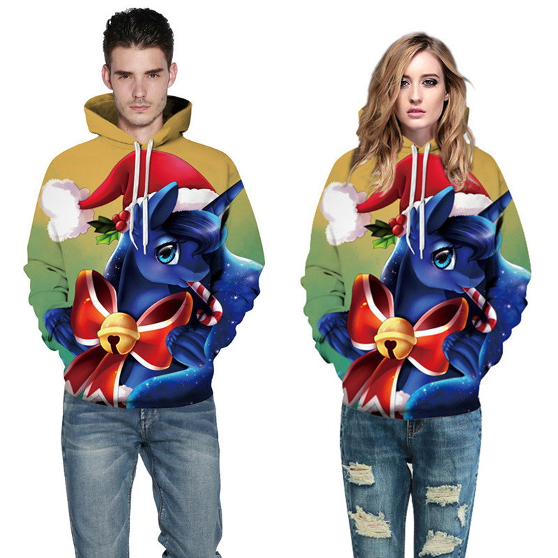 2017 Unisex Women Men Christmas Clothes Stylish 3d Unicorn Print Fashion Hooded Hoodies Loose Thin Tracksuit Pullover Sweatshirt