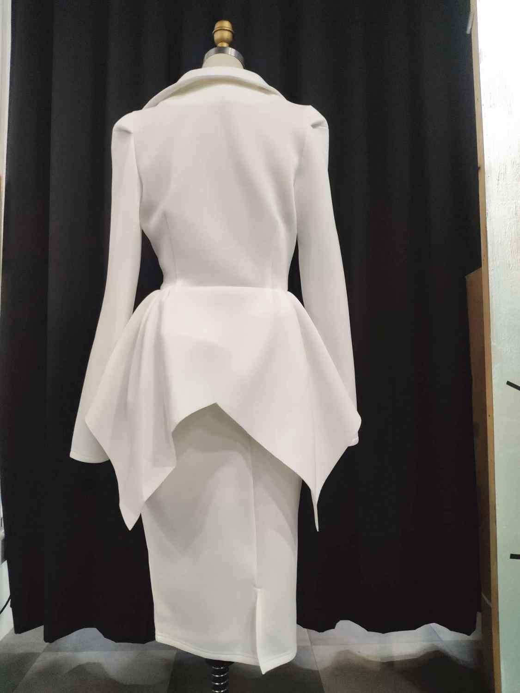 לבן נשים חליפות אפריקאי אופנה 2 חתיכות להגדיר נשים בתוספת גודל בגדים בלייזר מעיל Bodycon חצאית סקסי נקבה משרד ליידי המפלגה