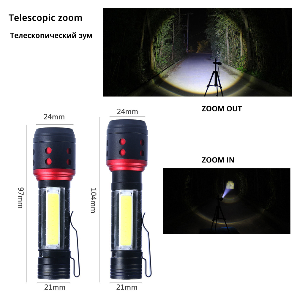 Image 4 - Portable MINI LED Flashlight With COB Side light 4 lighting modes XPE lamp beads Lighting 150 meters Powered by AA batteries-in LED Flashlights from Lights & Lighting