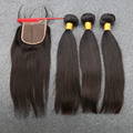 DHL Free Shipping Brazilian Virgin Hair With Closure And Lace Closure With 3 Bundles Human Virgin Straight Hair With Closure