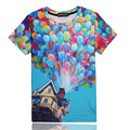 Colorful balloons tshirt casual couple clothing short sleeve camiseta 3d t shirt up printed T-shirts swag clothes