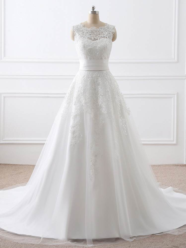 Wedding-Dresses Bridal-Gown Removable-Train Lace-Appliqued Two-Piece Sleeveless Short