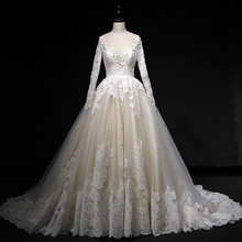Holievery Long Sleeves Ball Gown Wedding Dresses with