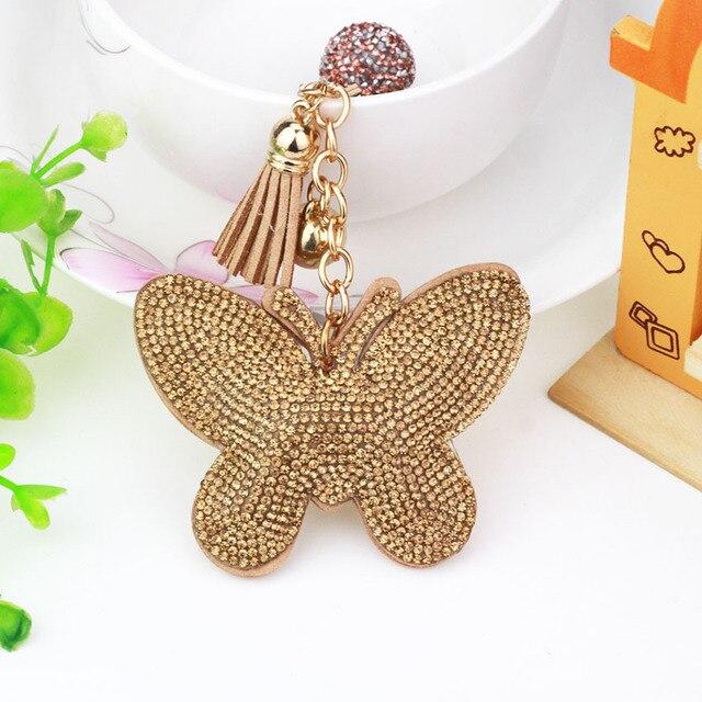 9 Colors New Arrival PU Leather Keychain Girl's Romantic Rhinestone Butterfly Pendant Key Chains Rhinestone Bag Keychain Gift
